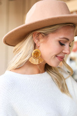 Mustard - Tassel Statement Earrings