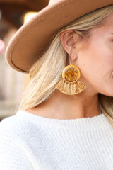Mustard - Tassel Statement Earrings Detail View