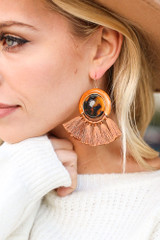 Rust - Tassel Statement Earrings  Detail View