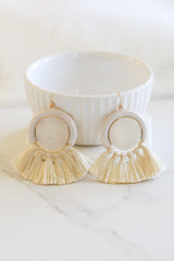 Taupe - Tassel Statement Earrings Flat Lay