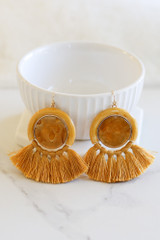 Mustard - Tassel Statement Earrings Flat Lay