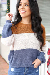 Blue - Color Block Knit Balloon Sleeve Sweater Detail View