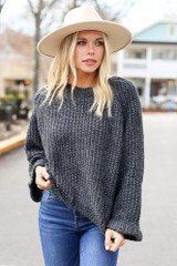 Black - Oversized Cropped Sweater from Dress Up