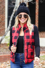 Red - and Black Buffalo Plaid Zip Up Vest
