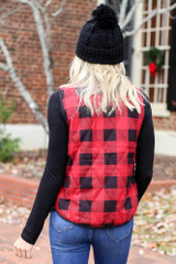 Red - and Black Buffalo Plaid Zip Up Vest Back View