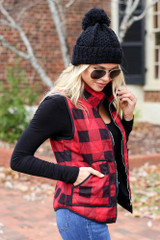 Red - and Black Buffalo Plaid Zip Up Vest with pockets