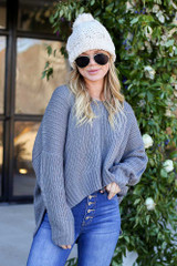 Grey - Slouchy V-Neck Knit Sweater Front View