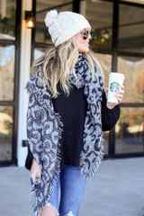 Grey - Leopard Blanket Scarf Front View