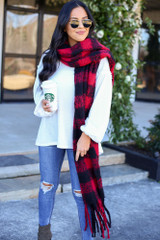 Red - Buffalo Plaid Fringe Blanket Scarf Wrapped View