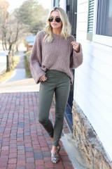 Olive - Mid-Rise Jeggings Full View shopdressup.com
