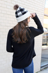 Model from Dress Up wearing the Brushed Knit Raglan Top in Black Back View