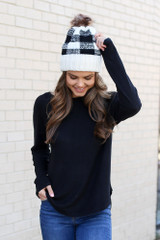 Model from Dress Up wearing the Brushed Knit Raglan Top in Black Front View