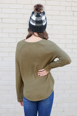 Model from Dress Up wearing the Brushed Knit Raglan Top in Olive Back View