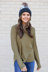 Model from Dress Up wearing the Brushed Knit Raglan Top in Olive Front View