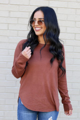 Model from Dress Up wearing the Brushed Knit Raglan Top in Camel Front View