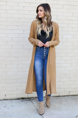 Model wearing the Camel Knit Duster Cardigan from Dress Up Front View