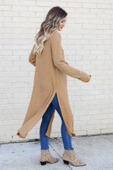 Camel - Knit Duster Cardigan from Dress Up Side View