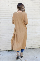 Model wearing the Camel Knit Duster Cardigan from Dress Up Back View