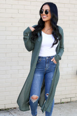 Olive - Knit Duster Cardigan