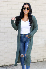 Model wearing the Olive Knit Duster Cardigan from Dress Up Front View