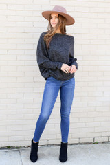 Charcoal - Heathered Knit Off the Shoulder Top from Dress Up Full Outfit View
