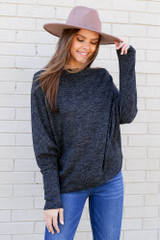 Dress Up Model the Heathered Knit Off the Shoulder Top from Dress Up Front View
