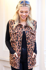 Model of Dress Up wearing the Leopard Lightweight Denim Vest with black Long Sleeve Top Front View