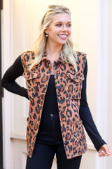 Model of Dress Up wearing the Leopard Lightweight Denim Vest with black Long Sleeve Top and black denim Front View