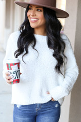 Model wearing the Fuzzy Knit Sweater from Dress Up in Ivory Front View