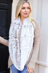 Model wearing the Faux Fur Infinity Scarf from Dress Up