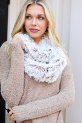Taupe - Faux Fur Infinity Scarf from Dress Up