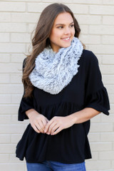 Dress Up model wearing the Black Faux Fur Infinity Scarf