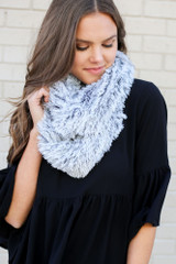Black - Faux Fur Infinity Scarf on Dress Up Model