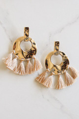 Taupe - Hammered Gold and Tassel Statement Earrings Flay Lay