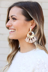 Taupe - Hammered Gold and Tassel Statement Earrings on Dress Up Model