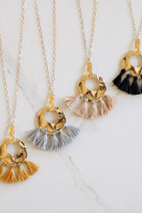 Taupe - Hammered Gold and Tassel Statement Necklace all four colors