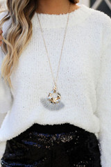 Grey - Hammered Gold and Tassel Statement Necklace on model