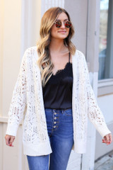 Ivory - Knit Chenille Cardigan from Dress Up on Model