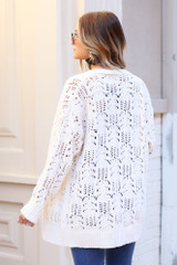 Model wearing the Knit Chenille Cardigan in Ivory from Dress Up Back View