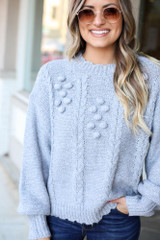 Heather Grey - Cable Knit Pom Pom Sweater from Dress Up Close Up