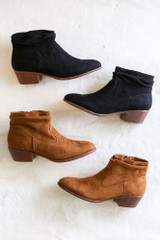 Black - Microsuede Slouch Booties flat lay both colors