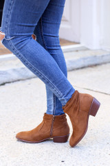 Chestnut - Microsuede Slouch Booties