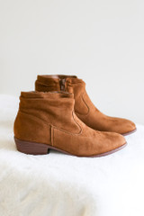 Chestnut - Microsuede Slouch Booties Flat Lay from Dress Up