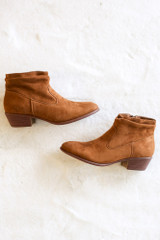 Chesnut Microsuede Slouch Booties from Dress Up Flat Lay