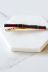 Flat Lay of Red Plaid Hair Clip Set Small Clip on marble from Dress Up Side View