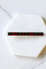 Flat Lay of Red Plaid Hair Clip Set Small Clip on marble