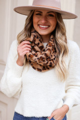 Taupe - Leopard Print Faux Fur Infinity Scarf from Dress Up