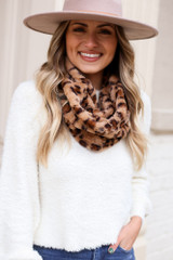 Dress Up model wearing the Taupe Faux Fur Infinity Scarf