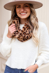 Model wearing the Faux Fur Infinity Scarf in Taupe from Dress Up Front View