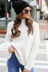 Model wearing the Popcorn Eyelash Knit Oversized Sweater